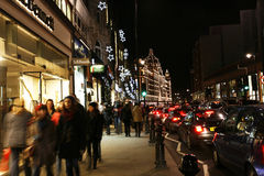 Christmas lights on Brompton Road with Harrods Stock Photo