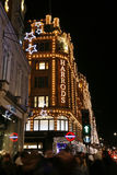 Christmas lights on Brompton Road with Harrods Royalty Free Stock Photography