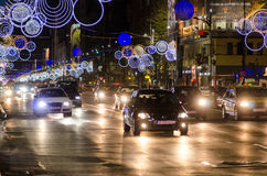 Christmas lights in Bucharest, Piata Universitatii Stock Photos