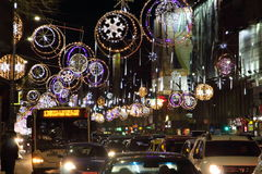 Christmas lights in Bucharest, Romania. Royalty Free Stock Images