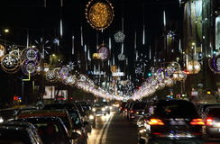 Christmas lights in Bucharest, Romania. Royalty Free Stock Image