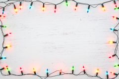Christmas lights bulb frame decoration royalty free stock photos