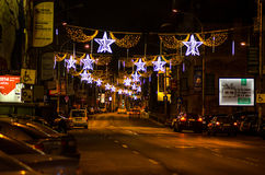 Christmas lights on Calea Victoriei Avenue Royalty Free Stock Photography