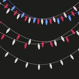 Christmas lights candle-shaped garland. Vector flat Xmas garland. Festive garlands set.  royalty free illustration