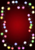 Christmas lights on card Royalty Free Stock Photography