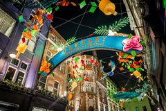 Christmas lights 2016 in Carnaby, London Royalty Free Stock Image