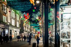 Christmas lights 2016 in Carnaby, London Royalty Free Stock Images