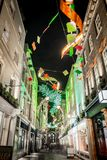 Christmas lights 2016 in Carnaby, London Royalty Free Stock Photos