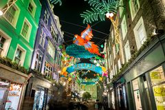 Christmas lights 2016 in Carnaby, London Royalty Free Stock Photography