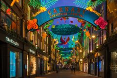 Christmas lights on Carnaby Street, London UK. LONDON - NOVEMBER 18, 2017: Christmas lights on Carnaby Street, London UK. Carnaby Christmas lights feature some Royalty Free Stock Photos