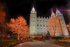 Christmas lights and church temple. A scene from temple square in salt lake city at night near christmas Royalty Free Stock Image