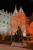 Christmas lights and church temple #2. A scene from temple square in salt lake city at night near christmas #2 stock image
