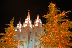 Christmas lights and church temple #3. A scene from temple square in salt lake city at night near christmas #3 Stock Images
