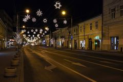 Christmas lights in city center of Cluj Napoca, Romania stock images