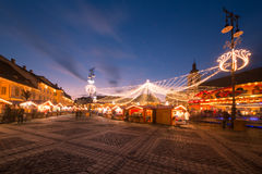 Christmas lights in the city. Christmas lights and market in the city of Sibiu, Romania Stock Photography