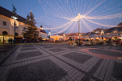Christmas lights in the city. Christmas lights and market in the city of Sibiu, Romania Royalty Free Stock Photography