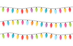 Christmas Lights. Colorful Christmas lights, white background Royalty Free Stock Images