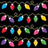 Christmas lights cross-stitch pattern, pixel Xmas decoration Stock Images
