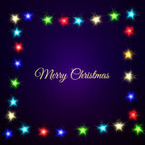 Christmas Lights on dark background.  Frame with text. Stock Photo