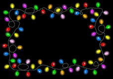 Christmas lights on dark background with space for text. Vector illustration of christmas lights on dark background with space for text Stock Photo