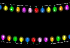 Christmas lights on dark background with space for text. Vector illustration of christmas lights on dark background with space for text Royalty Free Stock Photos