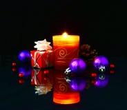 Christmas lights on a dark background. Christmas theme Stock Photography