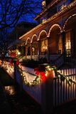 Christmas lights in a Vioctorian Town. Christmas lights and decoration adorn the Victorian town of Cape May, New Jersey stock image