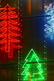 Christmas lights decoration on a building facade Stock Photos