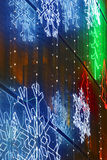 Christmas lights decoration on a building facade Royalty Free Stock Photos