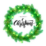 Christmas lights decoration design element. Garland decoration of Christmas lights design element. Vector wreath of pine, fir, spruce branches. Christmas tree Stock Image