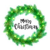 Christmas lights decoration design element. Garland decoration of Christmas lights design element. Vector wreath of pine, fir, spruce branches. Christmas tree Royalty Free Stock Images