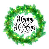 Christmas lights decoration design element. Garland decoration of Christmas lights design element. Vector wreath of pine, fir, spruce branches. Christmas tree Stock Photo