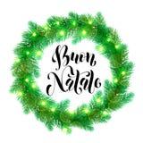 Christmas lights decoration Italian Buon Natale design element. Italian Christmas calligraphy design. Buon Natale Garland decoration of Christmas lights design Stock Photography