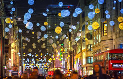 Christmas lights decoration at Oxford street and lots of people Stock Images