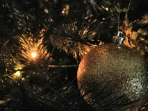 Christmas. Lights and decoration on a Christmas tree royalty free stock photos
