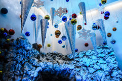 Christmas lights and decorations. Christmas lights and front yard decorations royalty free stock photo