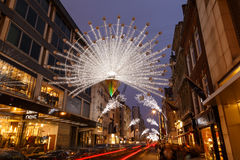 Christmas lights and decorations on New Bond Street, London. Royalty Free Stock Photography