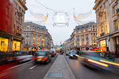 Christmas lights and decorations on Regent Street, London. Royalty Free Stock Images
