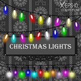 Christmas lights decorations set on grey seamless vintage ornamental pattern on black background Stock Image