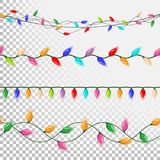 Christmas Lights String Vector. Flat Garlands, Christmas Party Decorations. Festive Decorations. On Transparent vector illustration