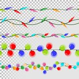 Christmas Lights Decorations Vector. Flat Lights Set.  Royalty Free Stock Photo