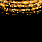 Christmas lights design elements background. Glowing lights for Xmas Holiday greeting card design Stock Photography