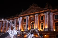 Christmas Lights on the Facade of the Capitol, in Toulouse Royalty Free Stock Image