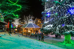 Christmas lights. Famous Leavenworth Christmas lights festival in the Washington state Bavarian village Stock Photo