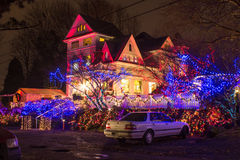 Christmas lights festival opening in the Victorian Belle, Portland, Oregon. Portland, Oregon. The Queen Anne Victorian mansion Victorian Belle in Christmas royalty free stock image