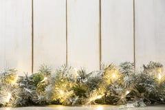 Christmas lights and fir branch Stock Photography