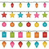 Christmas lights. Five sets of horizontally seamless christmas fairy lights, isolated on white Stock Photos