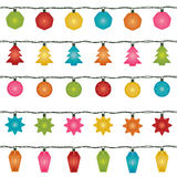 Christmas lights. Five sets of horizontally seamless christmas fairy lights, isolated on white Royalty Free Stock Photos