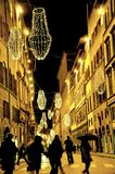 Christmas lights in Florence, Italy. Winter 2011 2012. night life out in the city . shopping for gifts royalty free stock photography