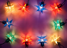 Christmas lights frame royalty free stock photography